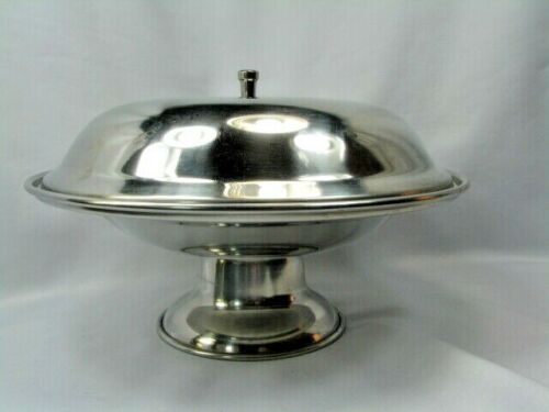 VOLLRATH 18/8 Stainless Steel 47584 Round Pedestal Base Covered Food Server