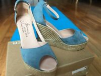 Gaimo Blue Women Suede High Wedges Sandals SIZE UK 6/ EU 39