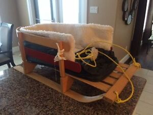 Wood Baby Sled with cushion