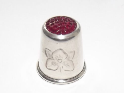SIZE 6 SOLID SILVER STERLING THIMBLE, GLASS TOP, HAAKON JACOBSEN NORWAY c1960