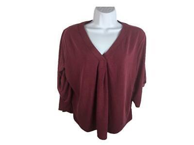Women's ADRIANNA PAPELL Antique brick Red Roll Tab Sleeve T.Shirt Sz XXL V-Neck