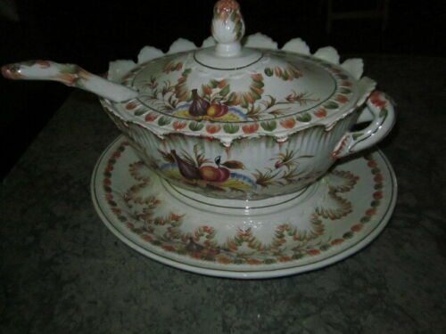 Vtg Large Porcelain SOUP TUREEN WITH LADLE & UNDERPLATE MADE IN ITALY- 4 Pieces