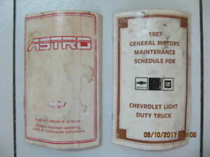 Classic 1987 Chevrolet Astrovan owners manual & maintenance book