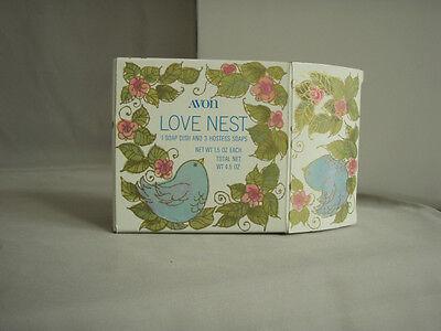 Vintage Avon Love Nest soap dish with set of 3 blue chick hostess soaps NIB
