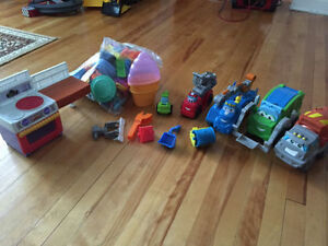 PlayDoh toys and trucks $60