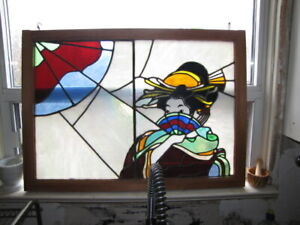 LARGE VINTAGE STAINED GLASS GEISHA JAPANESE ORIENTAL RARE