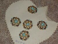 Rare 5 Antique Victorian Turquoise Cut Steel Gold Tone Flower Shape Buttons 33mm