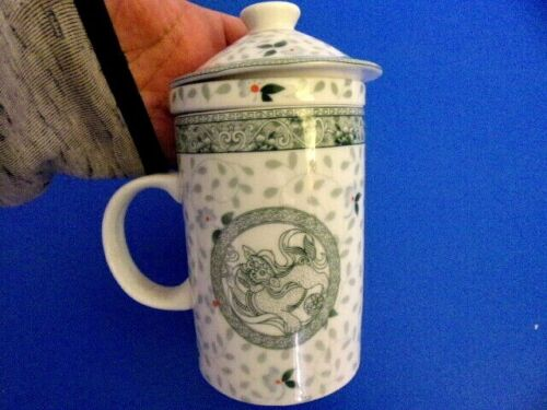 Chinese Porcelain Tea Cup Handled Infuser Strainer with Lid, Floral with Dragon