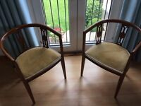 Carver Chairs, inlaid carver chair with Gold Velvet seats