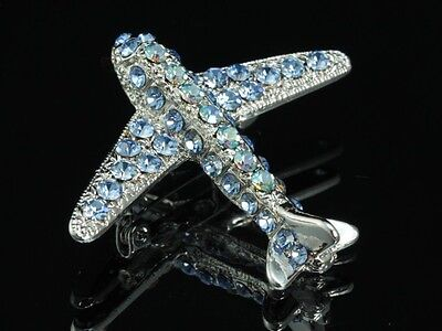 2pc Sparkly Sapphire blue crystal silver Brooch pin Aircraft Airplane Jet (Jet 2 Flights)