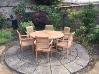 Bramblecrest Teak round 6 seater garden furniture set