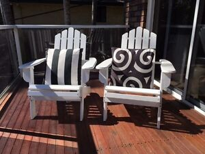 Two white outside deck chairs with cushions Avalon Pittwater Area Preview