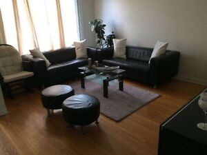 Sale! 2 leather sofas, 2 leather poufs & coffee table!