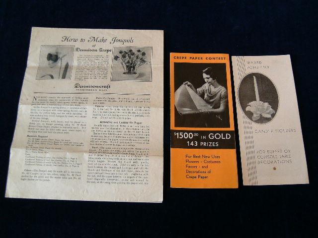 Vtg 1930 Lot 3pc Dennison CREPE PAPER CONTEST&HowToMake Flower Lily Daffodil A7l