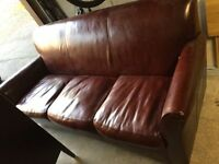 Faux leather couch, (red wine/burgundy)