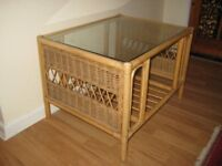 Quality And Stylish Vintage Glass Topped Bamboo Coffee Table.