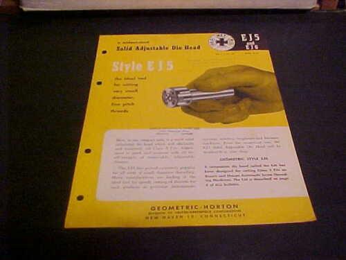 1959 INDUSTRIAL MACHINE BROCHURE GEOMETRIC-HORTON SOLID ADJUSTABLE DIE HEAD