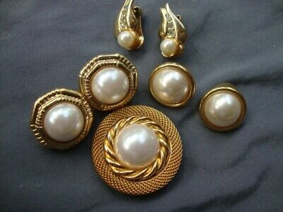 Vintage Costume Mop Pearl Dress Clip on pierced Earrings Jewelry Lot Rhinestone (Pearl Vintage Pierced Earrings)
