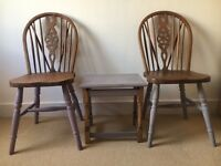 Vintage solid oak chairs & side table