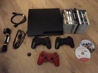 Playstation 3 Slim Console PS3, 3 Pads, 14 Games GTA V, Metal Gear 4, LA Noire, Ni No Kuni, Farcry 3