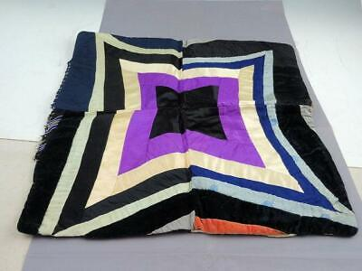 Antique Victorian Hand Stitched Crazy Quilt Pillow Cover 16
