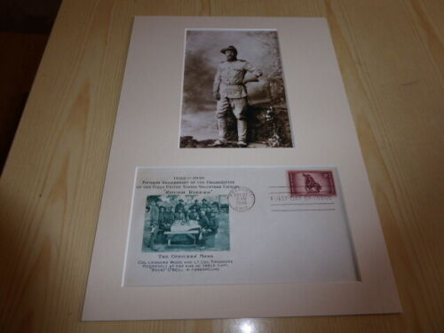Thedore Roosevelt Rough Riders mounted photograph & 1948 USA FDC mount size A4