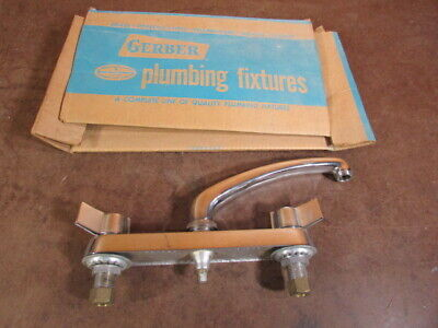 Vintage Gerber 8 inch center Kitchen sink Mid-Century Faucet Brass 250A