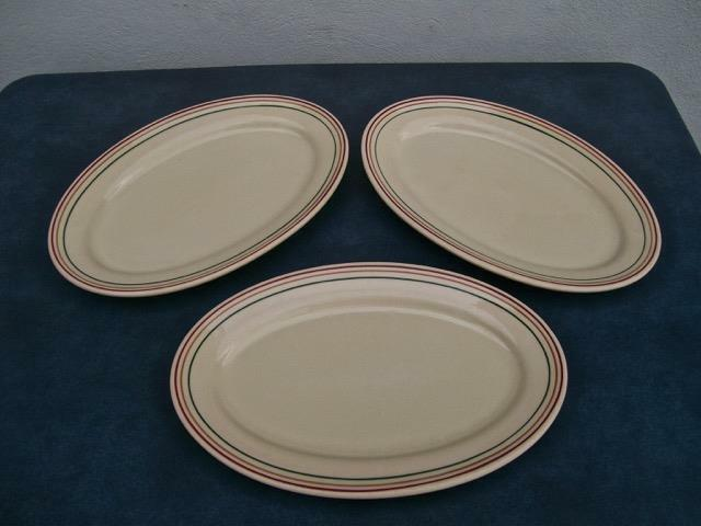 "IROQUOIS CHINA  ""PENDLETON"" RESTAURANT WARE ( LOT OF 3 ) OVAL PLATTERS 3 STRIPES"
