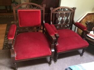 Antique His and Hers Parlor chairs
