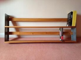 Double shelf wall unit. Pine with metal ends.