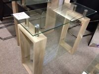 New oak effect & glass Console hall Table get it today only £59
