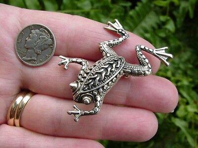 Vintage - Sterling silver - ornate - FROG TOAD PIN - brooch