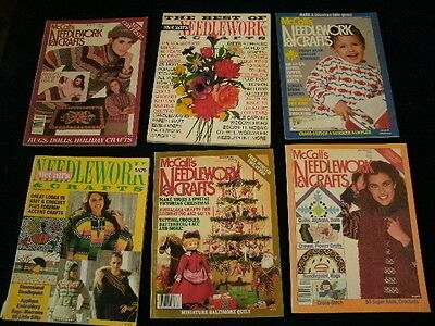 Vintage 1975-1989 McCall's Needlework & Crafts Magazine Lot of6 Knit Crochet A31