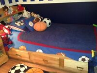 Twin Captain bed, dresser/bookcase, desk, chair, night stand