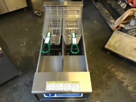 COMMERCIAL CATERING KITCHEN EQUIPMENT 3 PHASE ELECTRIC CHIPS FRYER DOUBLE TANK 2 BASKET