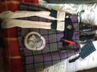 Kilt and accessories and kilt carrier for sale - very good condition