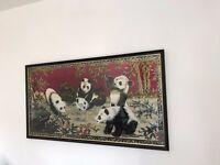 Vintage velveteen panda tapestry (Swan Brand)