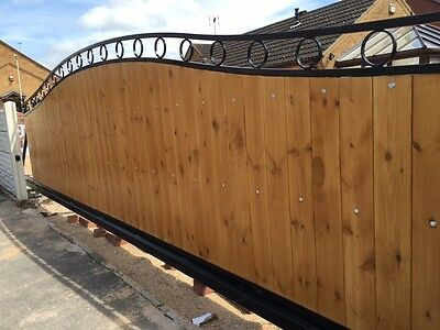 AUTOMATED WOOD INFILL CANTILEVER  SLIDING GATE 15FT / 5FT