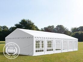 6x12m Heavy Duty PVC Marquee Gazebo, Bolt Steelconstruction, Party Tent, white