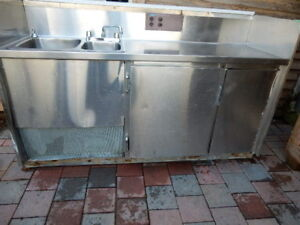 Commercial grade stainless steel double sink/fridge combo