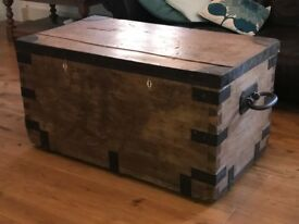 Solid pine chest/trunk, with iron handles and corner protectors