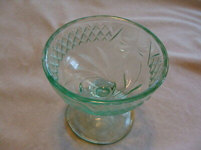 Green Depression Glass, US Glass Floral & Diamond-Green, 1 Sherbet, Fruit Cup