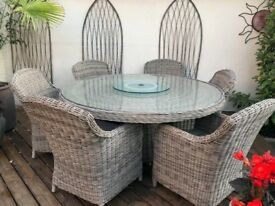6 Seater Rattan Dining Set with Cushions