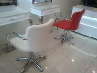 New white salon chairs package furniture hairdressing clearance counter reception desk counter red