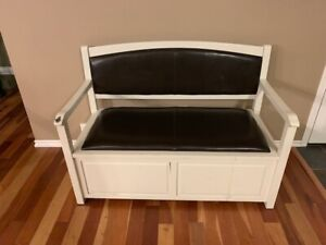 Solid wood bench with leather padding and storage box