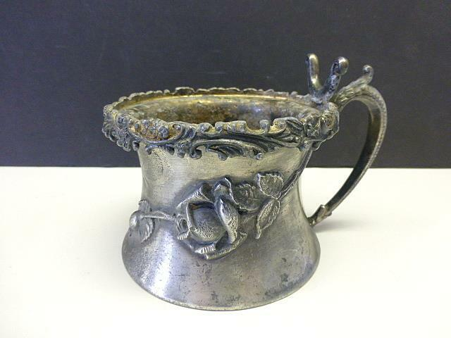Antique Repousse Rose Flower Wallace Silver Plate Shaving Mug 2 Part Brush Brace