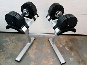 StairMaster TwistLock Adjustable Dumbbells with Stand 5-50lbs