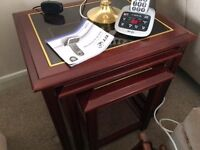 Mahogany Nest of 3 Tables with Matching Coffee Table - Glass Tops