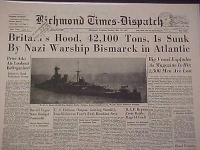 Vintage Newspaper Headline World War 2 Nazi Bismarck Battleship Sinks Hood Wwii