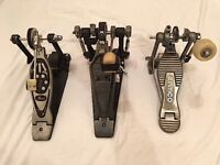 3 x bass drum pedals. 1 x Tama Camco, 2 x Pearl. All 3 pedals for £35.